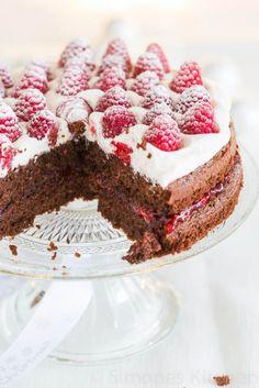 Dubbele chocolade frambozen taart   simoneskitchen.nl