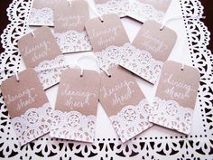 Doily Wedding Name Place, Table, or Escort Cards, Shabby Chic, Vintage Romantic Wedding on Kraft paper with Hand Written Calligraphy