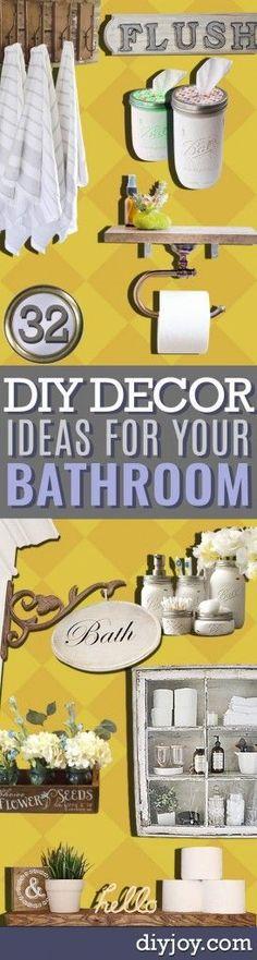DIY Bathroom Decor Ideas -  Cool Do It Yourself Bath Ideas on A Budget, Rustic Bathroom Fixtures, Creative Wall Art, Rugs, Mason Jar Accessories and Easy Projects diyjoy.com/...