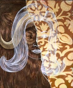 Girl - Mixed media on board - 2010 - inches Collages, Canada Online, Brown Paper, Portraits, Disney Characters, Fictional Characters, Mixed Media, Disney Princess, Artist