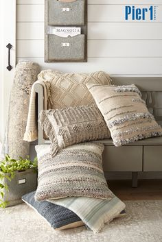 Magnolia Home by Joanna Gaines Collection: The one-of-a-kind rugs and pillows by celebrity designer Joanna Gaines are available at Pier 1. This signature collection combines heirloom-style patterns and colors with plush, durable fabrics, allowing you to create a space with character—yours. Shop over 300 styles of rugs, pillows, throws, furniture and decor at pier1.com, or visit your neighborhood store.
