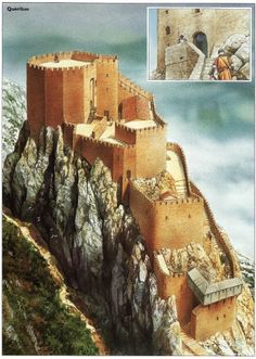 """Cathar Castle, Château de Quéribus. ... http://www.catharcountry.info/ ... Reconstruction by Peter Dennis, """"Cathar Castles"""", Osprey Books"""