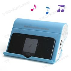 Audio Amplifying Mutual Induction Sound Player Music Speaker for iPhone 5 iPad Mini Samsung i9300 Galaxy S3 - Blue