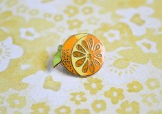 Vintage Orange Pin Enamel Pin Vintage Lapel by inthelavenderhaze