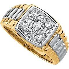 Two tone 14k diamond gold ring. for men.