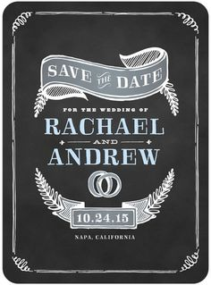 Charmed Chalk - Signature White Save the Date Cards - Elk Design - White : Front