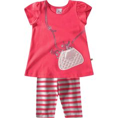 Conjunto Infantil Feminino com Legging Listrada Pink - Brandili :: 764 Kids | Roupa bebê e infantil