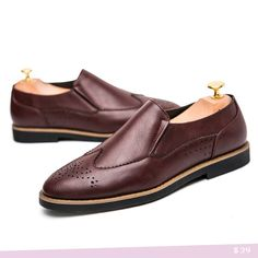 US $29 British Style High Quality Genuine Leather Burgundy Slip-on Business Men Shoes Wedding Shoes, Men Dress Shoes Hollow Out