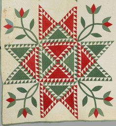Barbara Brackman's MATERIAL CULTURE, feathered star quilt 1840-1860.