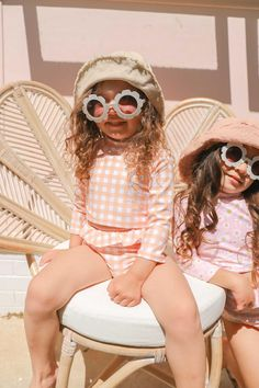 Louie Straw Hat Coco Peach Gingham Swimsuit Cute Sunglasses, Round Sunglasses, Baby Girl Accessories, Two Piece Swimsuits, Gingham, Little Girls, Peach, One Piece, Stylish