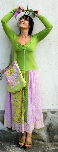 Romantic summer evening recycled dress and bag by jamfashion, on Etsy