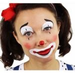 This is a very easy and cute clown. A professional circus clown might tell you that the white should not be on the upper lip as it will make the smile then look even bigger. Clown Face Makeup, Easy Clown Makeup, Clown Face Paint, Circus Makeup, Kids Makeup, Halloween Makeup, Makeup Ideas, Face Painting Tutorials, Face Painting Designs