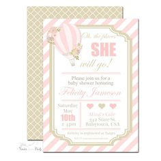 Hot Air Balloon Baby Shower Invitation - Minted | www.foreveryourprints.com