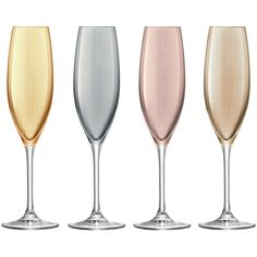 LSA International Polka Assorted Champagne Flutes - Set of 4 -... (€42) ❤ liked on Polyvore featuring home, kitchen & dining, drinkware, kitchen, fillers, food, decor, multi, colored glass champagne flutes and glass tableware