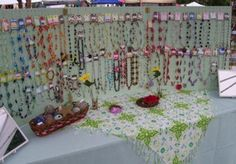 Tri-Fold Peg Board Jewelry display. Very simple, but potentially very cluttered.