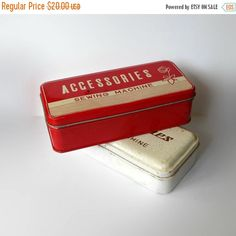 Vintage Metal Boxes Sewing Machine by MargsMostlyVintage on Etsy