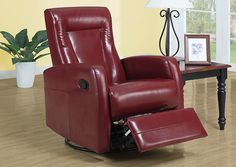 Monarch 8082RD - Red Bonded Leather Swivel Rocker Recliner | Sale Price: $399.00
