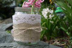 5 HESSIAN & LACE Glass Jars Tea Light  Holders  Wedding  Tea Party Home Decor