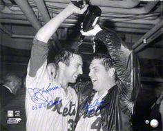 "Tom Seaver & Jerry Koosman New York Mets Autographed 16x20 Champagne Photo w/ Inscription ""69 WS CHAMPS"""