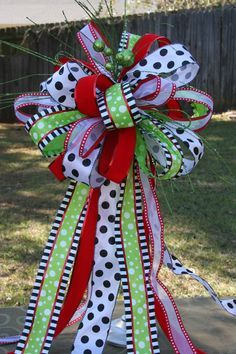 Christmas Tree Topper, Minnie Mouse Bow, Disney Inspired Bow Topper, Christmas gift, Housewarming, lime red black and white bow topper