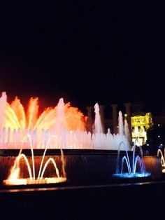 Magic Fountain, Barcelona. Shows every Friday and Saturday night where they coordinate the fountain with lights and music. And it's free!