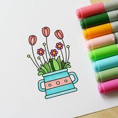 Flowers for #thedailymarker30day You can find this digi on my Etsy shop. #blackberryjellys #digi #digistamp #digitalstamp #stamp #coloringchallenge #coloring #markers #copic #flowers #scrapbooking #cardmaking #drawing #раскрашивание #рисунок #маркеры #штампик #скрапбукинг #цветы