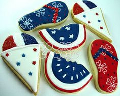 Fourth of July / patriotic summer decorated cookie art Summer Cookies, Fancy Cookies, Cut Out Cookies, Iced Cookies, Cute Cookies, Royal Icing Cookies, Holiday Cookies, Frosted Cookies, Onesie Cookies