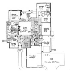 Home Plans HOMEPW76887 - 2,896 Square Feet, 4 Bedroom 3 Bathroom European Home with 3 Garage Bays