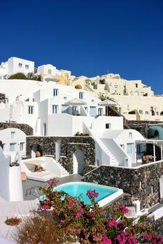 "breathtakingdestinations: ""Santorini - Grécia (por Charly W. Katikies Hotel Santorini, Santorini Island, Santorini Greece, Vacation Places, Vacation Spots, Places To Travel, Travel Things, Amazing Destinations, Travel Destinations"