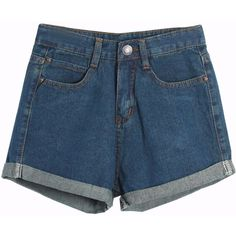 Chicnova Fashion High-Rise Cuffed Denim Shorts (22 CAD) ❤ liked on Polyvore featuring shorts, bottoms, clothing - shorts, pants, high waisted cuffed shorts, pocket shorts, cuffed shorts, cuffed denim shorts and high-waisted shorts