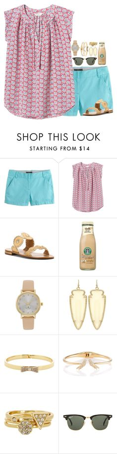 """EARN 37 LIKES!!!!! RTD FOLLOW JULES"" by simply-lilyy ❤ liked on Polyvore featuring J.Crew, Rebecca Taylor, Jack Rogers, Kate Spade, Kendra Scott, Ariella Collection and Ray-Ban"