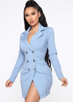 Bossing Around Mini Blazer Dress - Light Blue - Fashion Blue Blazer Dress, Blazer Outfits, Blazer Fashion, Dress Outfits, Casual Dresses, Fashion Outfits, Casual Blazer, Colored Blazer, Womens Fashion