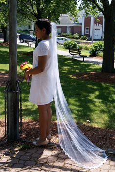 Chapel Length Veil, white, single tier, beaded lace trim, with metal comb. Wedding/bridal accessories.