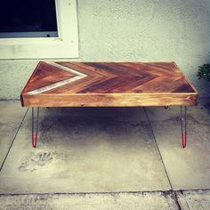 Reclaimed Barn wood Chevron arrow herringbone COFFEE, dining, entry way foyer loft console table.  Modern hairpin steel legs.Christmas Gift. $430.00, via Etsy.