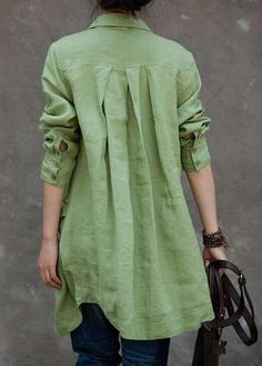 Green Turndown Collar Button Closure Long Shirt | lulugal.com - USD $26.37