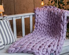 Chunky purple throw blankets, Lilac cable knit for sofa, Light decorative bed blanket, Giant bulky throw for couch for bed, Mother Day gifts Throw Blankets Purple ostrige throw