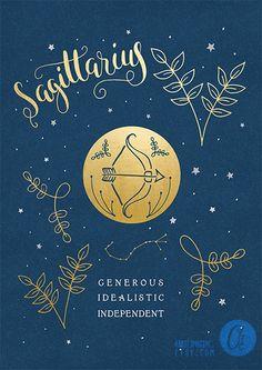 Sagittarius zodiac art print star sign astrology by AbbieImagine