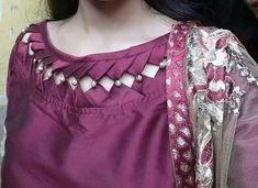 Kurti Neck Designs - The handmade craft Churidhar Neck Designs, Salwar Neck Designs, Neck Designs For Suits, Kurta Neck Design, Neckline Designs, Kurta Designs Women, Blouse Neck Designs, Salwar Neck Patterns, Neck Patterns For Kurtis