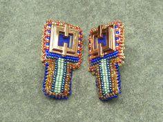 Renoir Copper Earrings Bead Embroidery Blue by LisaPierceJewelry, $90.00