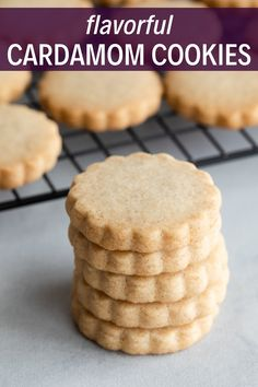 These cardamom shortbread cookies are supremely tender and flavorful. With this recipe, you'll get a soft, buttery shortbread cookie infused with the rich aroma of ground cardamom. New Year's Desserts, Cookie Desserts, Holiday Desserts, Cookie Recipes, Dessert Recipes, Holiday Foods, Holiday Recipes, Biscuit Cookies, Biscuit Recipe