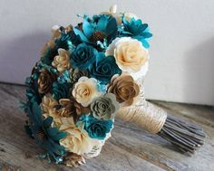 Teal Ivory Brown Copper Rustic Wood Bouquet Needs more white, no blue flowers, just the teal beads, and add a few pinecones!