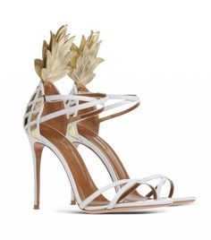 Aquazzura If this doesn't scream summer and the tropics, then I don't know what does! Aquazzura 's rendition of a pineapple heel is d. Bridal Shoes, Wedding Shoes, Wedding Attire, Shoes 2016, White Sandals, Slingback Sandal, Sexy High Heels, Party Shoes, Aquazzura