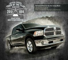 Reigning Champion - TWO Years in a Row. No one else has ever done this.. the RAM 1500. See it today at Hosick Motors, Vandalia. http://wp.me/p3SNHp-hc