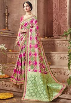 Woven Art Silk Jacquard Saree in Green and Fuchsia