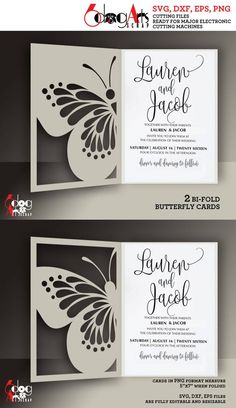 Wedding invitations reference ref 4543006992 Really Impressive wedding card suggestions. diy wedding invitations cricut plus elegant suggestions posted on 20181213 , Silhouette Cameo, Wedding Silhouette, Butterfly Wall Art, Butterfly Cards, Wedding Invitation Templates, Wedding Invitations, Cricut, Kirigami, Pop Up Cards