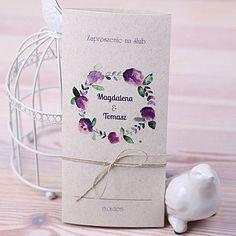 Zaproszenia ślubne na papierze ekologicznym - wianuszek | Zaproszenia Ślubne \ kolekcja Glamour Zaproszenia Ślubne | studio Brzoza