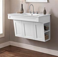 Fairmont Designs Shaker Americana Wall Mount Vanity - Polar White: Fairmont Designs is described in two… Ada Bathroom, Handicap Bathroom, Family Bathroom, Bathroom Cabinets, White Bathroom, Bathroom Faucets, Bathroom Furniture, Bathroom Storage, Modern Bathroom