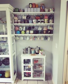 Mug display wall. Coffee Bar. Mug shelving rack. Mug hooks. DIY