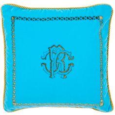 Roberto Cavalli Home Venezia Cushion (40cm x 40cm) ($400) ❤ liked on Polyvore featuring home, home decor, throw pillows, turquoise accent pillows, turquoise home accessories, turquoise throw pillows, roberto cavalli and turquoise home decor
