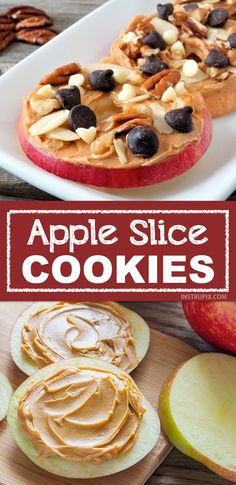 """Easy and fun snack ideas for kids! My kids love these apple slice """"cookies"""". They are the perfect healthy after-school snack that you don't have to feel guilty about. Super quick and fun for adults, too! Snacks easy Healthy & Easy Snack Ideas For Kids Healthy Meal Prep, Healthy Snacks For Kids, Healthy Snack Recipes, Quick And Easy Snacks, Snacks Recipes, Dinner Healthy, Snack Ideas For Kids, Healthy Kids Snacks For School, Recipes Dinner"""